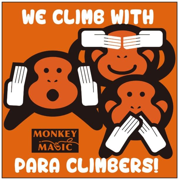 「We climb with Para climbers!」ステッカー