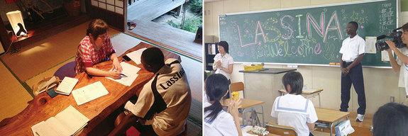 (左:野球練習後は日本語の勉強を)(右:はじめて日本の高校に体験入学)