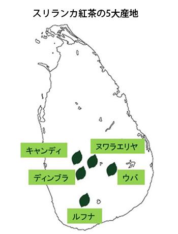 スリランカ紅茶の5大産地 マップ
